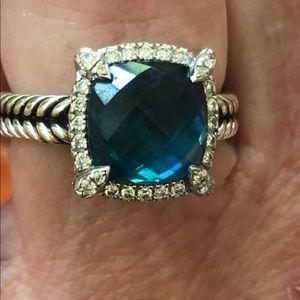 David Yurman blue topaz and diamond ring